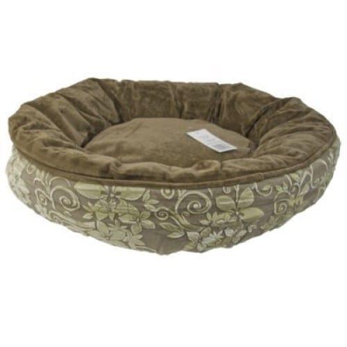 Hundeseng rund, grønn med mønster