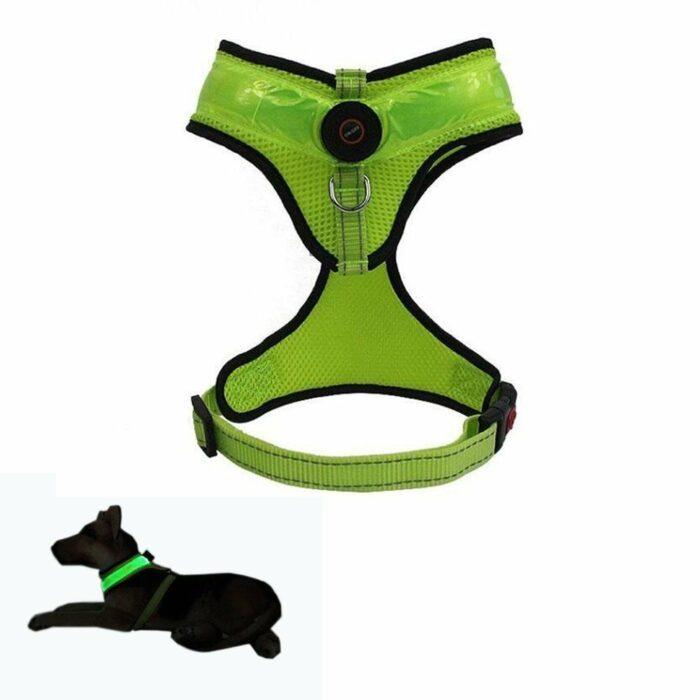 Hundesele myk med LED lys. Oppladbar USB
